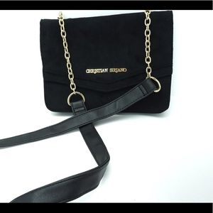 Christian Siriano black and gold crossbody purse